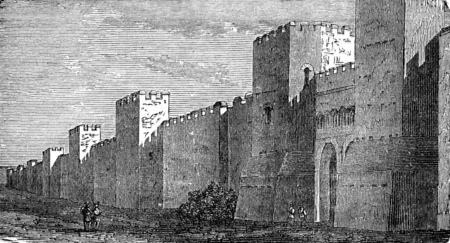 fortified: Fortified wall of Roman construction, vintage engraved illustration. Industrial encyclopedia E.-O. Lami - 1875.