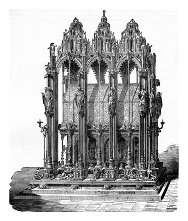 Shrine of St. Sebald, vintage engraved illustration. Industrial encyclopedia E.-O. Lami - 1875. Фото со стока