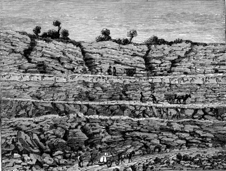 rock layer: A career, Superimposed layers of rocks, vintage engraved illustration. Earth before man – 1886. Stock Photo