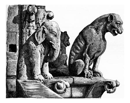 dame: The Notre Dame towers, vintage engraved illustration. Paris - Auguste VITU – 1890.