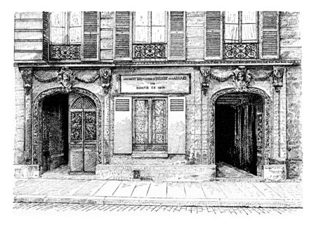 The new home of Heloise and Abelard, vintage engraved illustration. Paris - Auguste VITU – 1890.