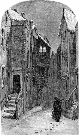 history architecture: The former Judengasse, vintage engraved illustration. From Chemin des Ecoliers, 1861.