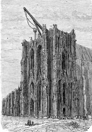 cologne: Cologne Cathedral, Cologne, vintage engraved illustration. From Chemin des Ecoliers, 1861.