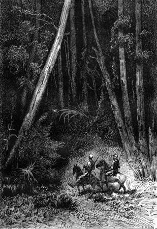 companions: It was a tall forest, vintage engraved illustration. Jules Verne 3 Russian and 3 English, 1872.