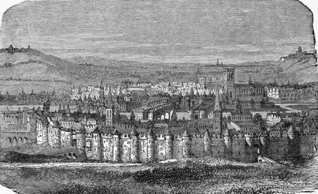 Murallas de París bajo Felipe Augusto, ilustración de la vendimia grabado. E.-O. enciclopedia Industrial Lami - 1875. Foto de archivo - 42943669
