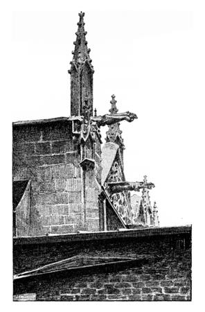 old church: The spires of St. Severin, vintage engraved illustration. Paris - Auguste VITU – 1890.
