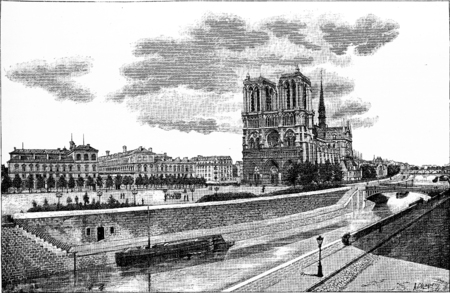notre: The Hotel-Dieu, the Parvis Notre-Dame and the Pont au Double, vintage engraved illustration. Paris - Auguste VITU – 1890.