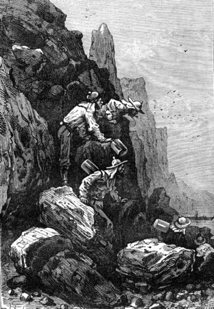 had: They had come up to the lake, vintage engraved illustration. Jules Verne 3 Russian and 3 English, 1872.