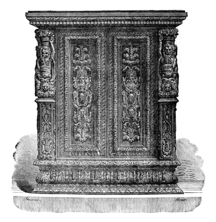 to furnish: Small carved wooden jewelry cabinet style Jean Goujon, vintage engraved illustration. Industrial encyclopedia E.-O. Lami - 1875.