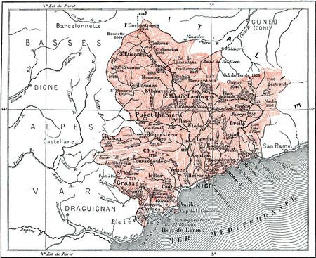 alpes maritimes: Map of Department of Alpes-Maritimes, vintage engraved illustration. Dictionary of words and things - Larive and Fleury - 1895.