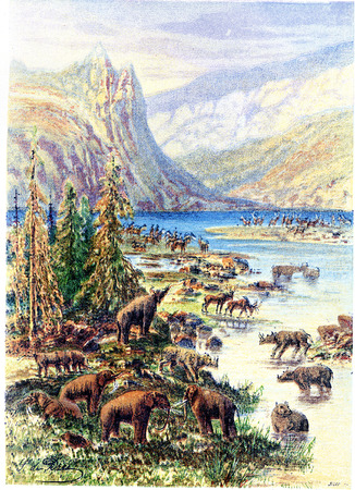 Landscape of Europe Tertiary age, vintage engraved illustration. Earth before man – 1886. Stock Photo