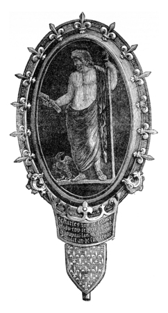 cameo: Antique cameo, setting the era of Charles V, vintage engraved illustration. Industrial encyclopedia E.-O. Lami - 1875. Stock Photo