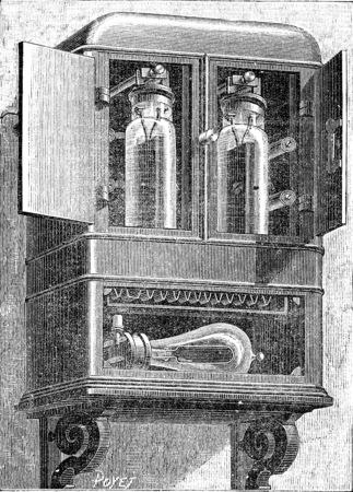 electricidad industrial: Edison contador de la luz, cosecha ilustración grabada. E.-O. enciclopedia Industrial Lami - 1875. Foto de archivo