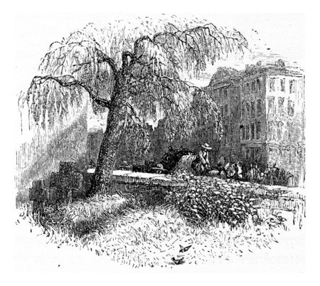 ramparts: Ramparts Weinheim, vintage engraved illustration. From Chemin des Ecoliers, 1861. Stock Photo