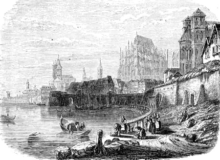cologne: Cologne, vintage engraved illustration. From Chemin des Ecoliers, 1861.