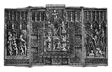 fifteenth: Iron lock of the fifteenth century, vintage engraved illustration. Industrial encyclopedia E.-O. Lami - 1875. Stock Photo