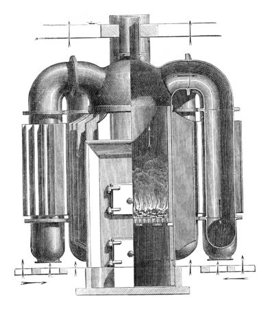 furnace: Hollow Furnace fins, vintage engraved illustration. Industrial encyclopedia E.-O. Lami - 1875.