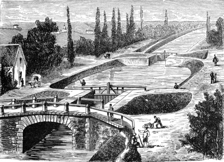 canal lock: Lock of the Canal du Centre, vintage engraved illustration. Industrial encyclopedia E.-O. Lami - 1875.