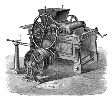printing inks: Three roll mill granite for colors and printing inks, vintage engraved illustration. Industrial encyclopedia E.-O. Lami - 1875. Stock Photo