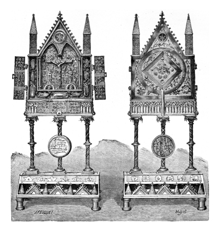 relics: Reliquary of the thirteenth century, vintage engraved illustration. Industrial encyclopedia E.-O. Lami - 1875.