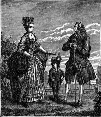 eighteenth: Bourgeoisie after Dupin (eighteenth century), vintage engraved illustration. Industrial encyclopedia E.-O. Lami - 1875. Stock Photo