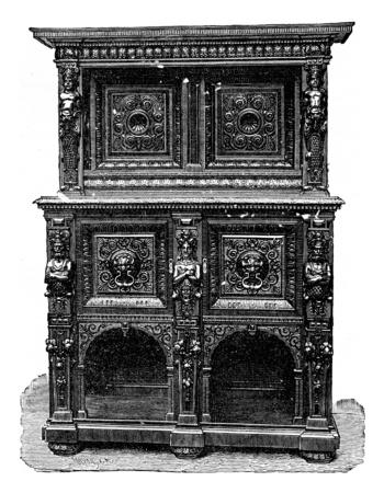 old furniture: Carved walnut cabinet, vintage engraved illustration. Industrial encyclopedia E.-O. Lami - 1875.