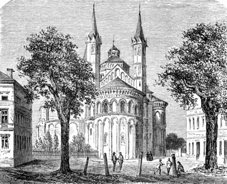 collegiate: Basilica of the Holy Apostles, Cologne, vintage engraved illustration. From Chemin des Ecoliers, 1861.