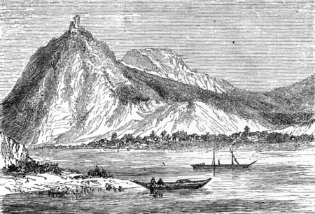 upland: The Drachenfels, vintage engraved illustration. From Chemin des Ecoliers, 1861. Stock Photo