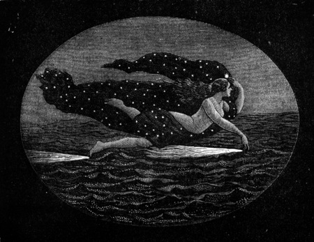 sea nymph: It is believed see a Naiad drag on the airwaves and bring forth the phosphorescence, vintage engraved illustration. Earth before man – 1886. Stock Photo
