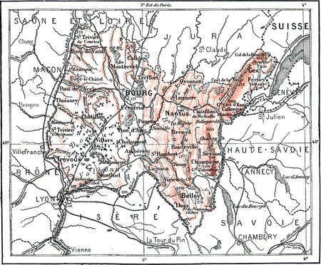 Map of Department of Ain, vintage engraved illustration. Dictionary of words and things - Larive and Fleury - 1895.