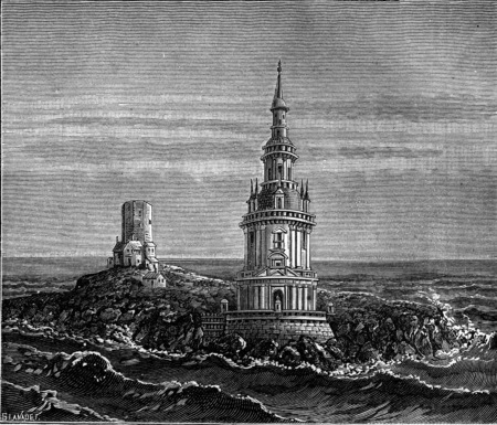 sixteenth: Cordouan and its island in the sixteenth century, vintage engraved illustration. Earth before man – 1886. Stock Photo