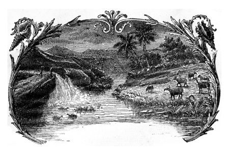 The Eocene period, vintage engraved illustration. Earth before man – 1886.