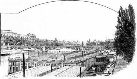 pont: Cold baths of the Pont des Saints-Peres, vintage engraved illustration. Paris - Auguste VITU – 1890.