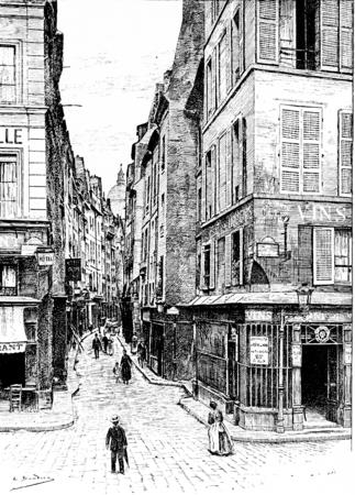 ストリート ビエーヴルに位置する、ヴィンテージには、図が刻まれています。パリ - オーギュスト ・ ヴィトゥ-1890年。