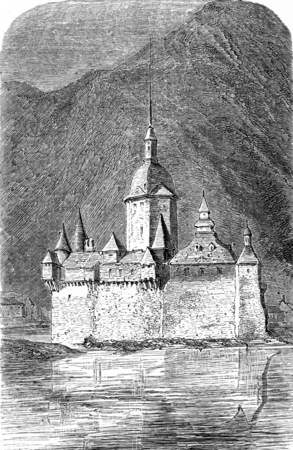 history architecture: Pfalzgrafenstein Castle, vintage engraved illustration. From Chemin des Ecoliers, 1861.
