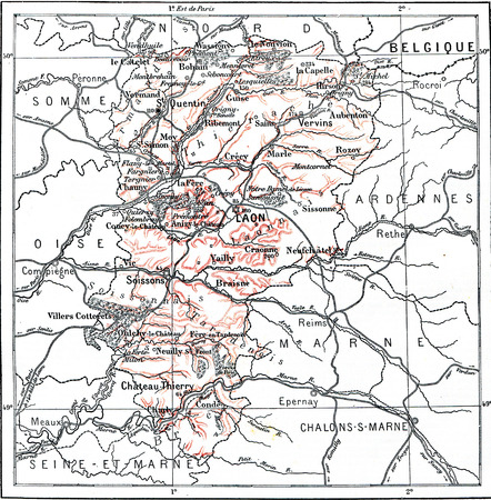 conventions: Map of Department of Aisne, vintage engraved illustration. Dictionary of words and things - Larive and Fleury - 1895.