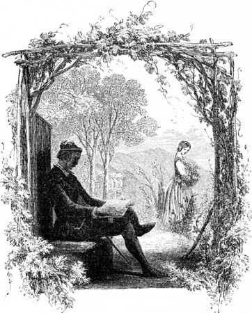 marguerite: Faust and Marguerite, vintage engraved illustration. From Chemin des Ecoliers, 1861. Stock Photo