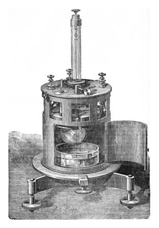 Mr. Mascart electrometer symmetrical, built by Mr. Carpentier, vintage engraved illustration. Industrial encyclopedia E.-O. Lami - 1875. Banco de Imagens