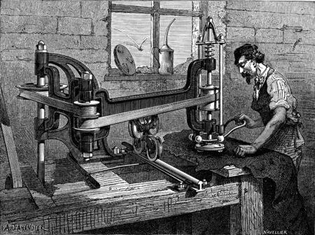 Polishing machine patent leathers, vintage engraved illustration. Industrial encyclopedia E.-O. Lami - 1875.