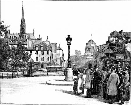 pont: Place and Pont Saint-Michel, vintage engraved illustration. Paris - Auguste VITU – 1890.