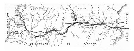 パナマ運河は、ビンテージの刻まれた図の地図。産業百科事典 e. o.ラミ - 1875年。 写真素材