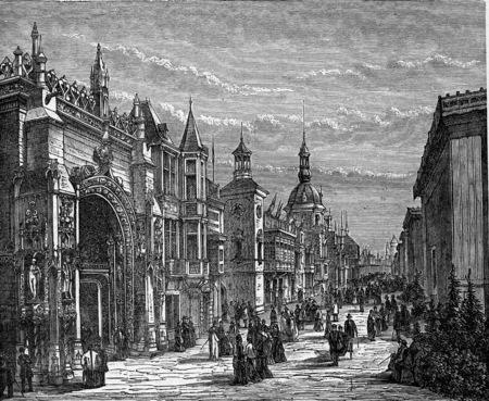 Straße der Nationen in den Palast des Champ de Mars. Industrielle Enzyklopädie E.-O. Lami - 1875. Standard-Bild - 42946607