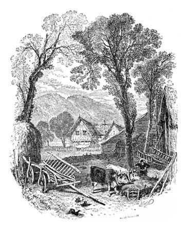 Tettingen, 빈티지 새겨진 된 그림의 농장입니다. Chemin des Ecoliers, 1861에서. 스톡 콘텐츠