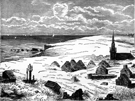 Village buried under the dunes, vintage engraved illustration. Earth before man – 1886.