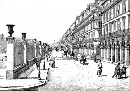 rivoli: Rue de Rivoli, vintage engraved illustration. Paris - Auguste VITU – 1890.