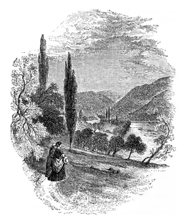 abbey: Neuburg Abbey, vintage engraved illustration. From Chemin des Ecoliers, 1861.