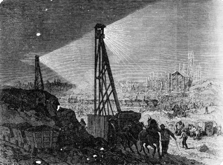 building site: Lighting a building site at the electric light, vintage engraved illustration. Industrial encyclopedia E.-O. Lami - 1875.