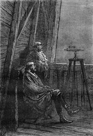 astronomer: The Colonel and astronomer, vintage engraved illustration. Jules Verne 3 Russian and 3 English, 1872.