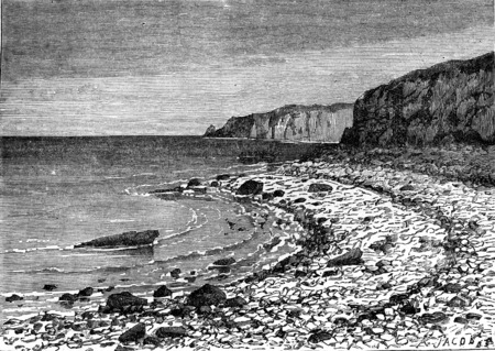 rejected: Pebble beach cords rejected by the sea Cayeux (Somme), vintage engraved illustration. Earth before man – 1886.