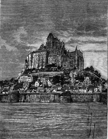 Mont Saint-Michel, vintage engraved illustration. Earth before man – 1886.